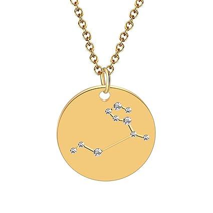 BONNIO Collar de la constelación del horóscopo del Zodiaco del Oro Collar del Collar Size Leo