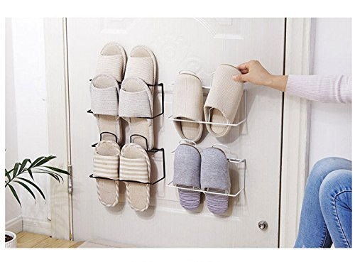 LONGPRO Wall Mounted 2 Tier Shoes Rack Slipper Shelf Storage Organizer Shoes Shelf Holder Sticky Shoe Storage Organizer Wall Shoe Hangers Wall Shoe Hangers Set of 2 Pack for Entryway Bathroom Shower R by Longpro (Image #9)