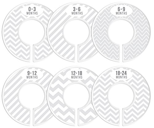 Delicush Baby Closet Dividers, Stripe, Chevron, Set of 6 Size Organizers, Nursery Closet Organizers, Baby Size Dividers, Glossy Finish, Boy, Girl (Light Grey)