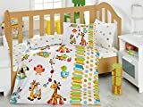 Bekata Playgrounds Baby Duvet/Quilt Cover Set Bedding Set 100% Ranforce Cotton Turkish Cotton Comforter Cover Toddler Bedding Sheet Set 4 Pieces