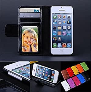 Leather Case For iPhone 5 5S 5C Magnetic Case Wallet Photo Frame Cover with Card Holder Stand Skin RCD02585 --- Color:White for iphone5 5s