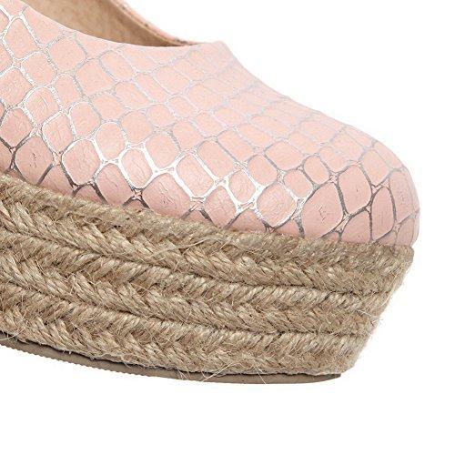 BalaMasa Girls slip-on high-heels solido microfibra pumps-shoes, Rosa (Pink), 35