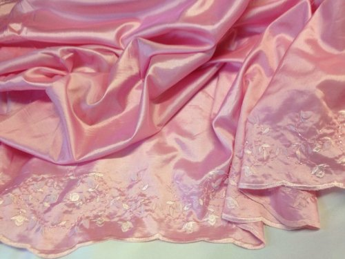 """2 Yards,55"""" PINK Embroidered Taffeta with 3D Flowers, Beautiful for Dresses"""