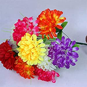 ZJJFZH Artificial Decorative Flowers 18 Colored Large Chrysanthemums, Qingming Festival, Memorial Sweeping Graves, Artificial Flowers Cemetery Flowers, Fake flowersDecorative Artificial Flowers 28