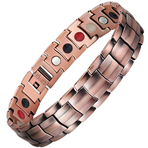 VITEROU Mens Magnetic Pure Copper Therapy Bracelet 4(Magnets/Germanium/Negative Ion/FIR) in 1 Healing for Arthritis Pain Relief and Carpal Tunnel,3500 Gauss ()