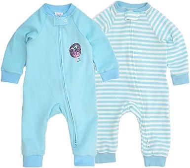 Feidoog Baby 2-Pack Cotton Romper Jumper Two Way Zipper Long Sleeve Footless Pajamas Jumpsuits Sleep and Play
