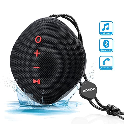 nxon Portable Wireless Stereo Bluetooth Speaker 4.2 with 10W Bass,IPX5 Waterproof Shower Speaker,Built-in Mic, Micro SD Card Slot,Outdoor Speakers for iPhone,iPad,Samsung (black) (Weatherproof Card Reader)