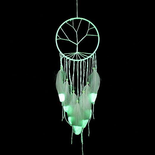 4 Tree of Life Traumf/änger Glow in the Dark handgefertigt mit Perlen Feder Quaste Wand h/ängende Dekoration Room Decor Party Hochzeit Ornament Wei/ß Stil Nr