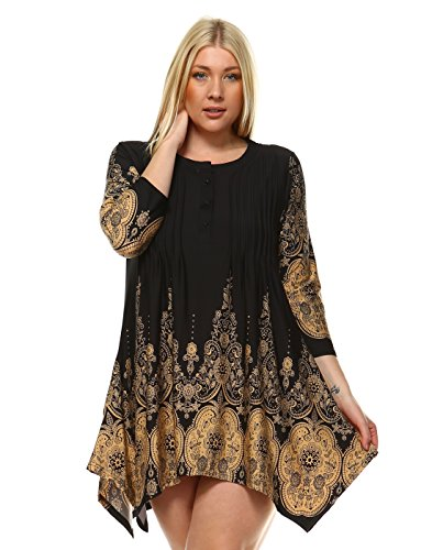 Mili Plus Size Pleated Front Tunic Shirts Scoop Neck Three Button Blouse Lace Print 3/4 Sleeve