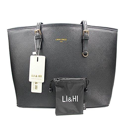 li hi damen handtasche schwarz marken handtaschen elegant taschen shopper reissverschluss frauen. Black Bedroom Furniture Sets. Home Design Ideas