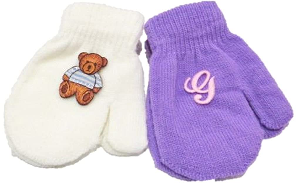 Two Pairs Magic Stretch Mittens for Infants Ages 3-12 Months with Monogram