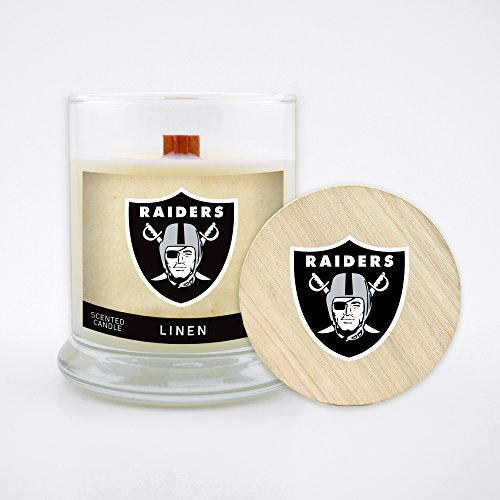 Worthy Promo NFL Oakland Raiders Linen Scented Soy Wax Candle, Wood Wick and Lid, 8 oz (Oakland Raiders Oak Helmet)