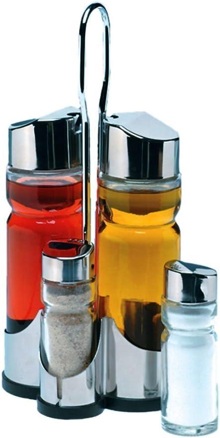 MGE Soporte de Acero Inoxidable Set de Aceitera Vinagrera y Recipiente para Sal y Pimienta 4 Piezas