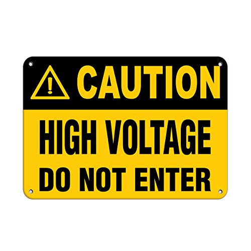 Caution High Voltage Do Not Enter Hazard Sign Hazard Labels Aluminum Metal Sign 7 in x 10 in Custom Warning & Saftey Sign Pre-drilled Holes for Easy mounting ()