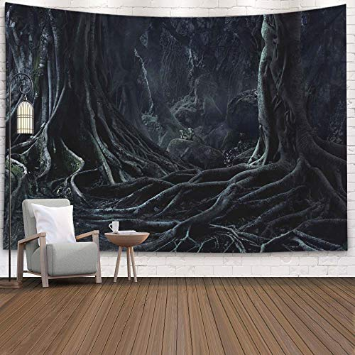 Halloween Tree Wall Art (Crannel Wall Hangings Tapestry, Spooky Halloween Dead Mysterious Forest Creepy Trees Twisted Root Tapestry 80X60 Inches Wall Art Tapestries Hanging for Dorm Room Living Home)