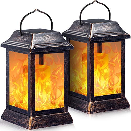 TomCare Solar lights Metal Flickering Flame Solar Lantern Outdoor Hanging Lanterns Lighting Heavy Duty Solar Powered Waterproof Umbrella LED Flame Lights for Garden Patio Pathway Deck Yard, 2 Pack (Outside Lighting Solar)