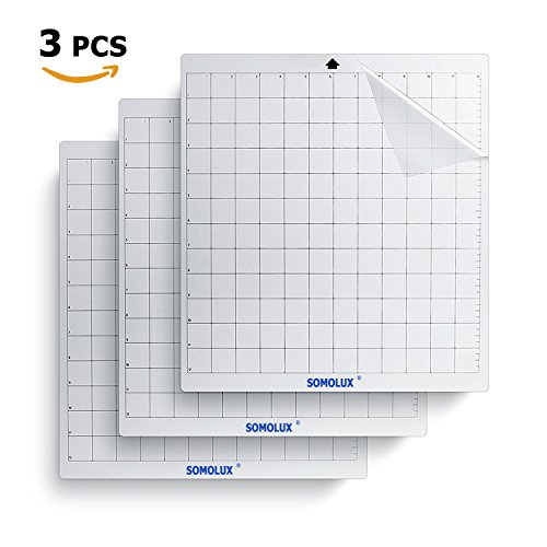 Cricut Silhouette Cutting Mat 3 Pack Standard-Grip Adhesive Cutting Mat by SOMOLUX, Suit for Cricut, Silhouette, Brother Electronic Die Cutting Machine, 12×12 inch Clear by SOMOLUX