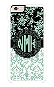 iPhone 6 Case Monogram Personalized Green and Black Hemlock Damask Pattern RUBBER CASE - Fits iPhone 6 T-Mobile, AT&T, Sprint, Verizon and International (Black)