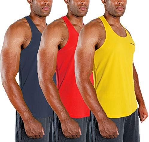 DEVOPS 3 Pack Men's Y-Back Dri Fit Muscle Gym Workout Tank Top