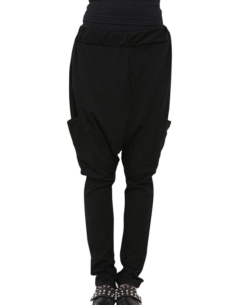Mujeres Color Puro Casual Delgado Cintura Elástica Harem Pantalones Negro