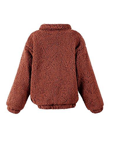 Coat con Faux Invierno de Idopy Otoño abrigo Marrón Fur capucha Mujeres Lovely prendas SawWxxqvIE