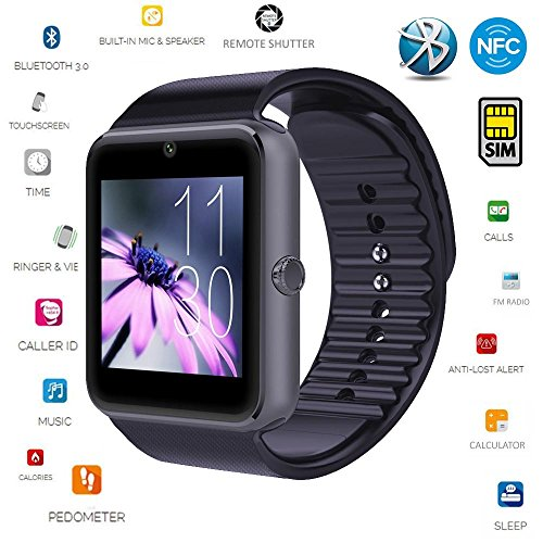 Smart Watch[U.S. Warranty]JoyGeek All-in-1 Bluetooth Watch Wrist Watch Phone with SIM Card Slot and NFC for IOS Apple iPhoneAndroid Samsung HTC Sony LG Smartphones(Black)