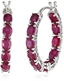 Sterling Silver Genuine Ruby Oval Inside Out Hoop Earrings, 0.75''