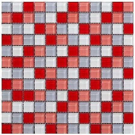 Mosaique En Verre Carreaux Rouge Gris Filet Carrelage Mural