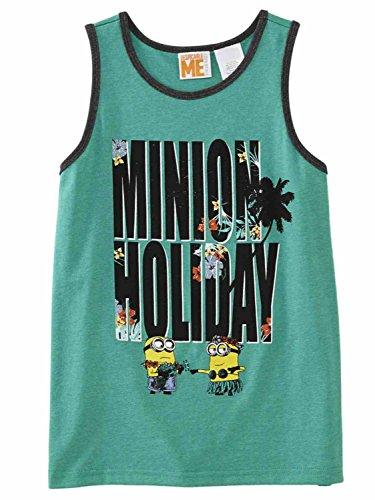 Despicable Me Boys Green Minion Holiday Hawaiian Tank Top Sleeveless Shirt - Tank Me Top Minion Despicable