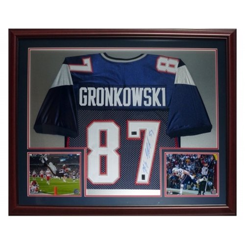 Rob Gronkowski Autographed New England Patriots (Blue #87) Deluxe Framed Jersey - Gronk Holo