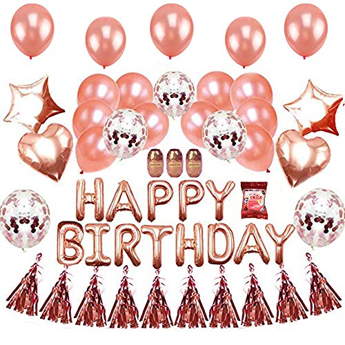 EKKONG Happy Birthday Decorations Balloons - Birthday Party Supplies Rose Gold Confetti Balloons Birthday Banner Star -