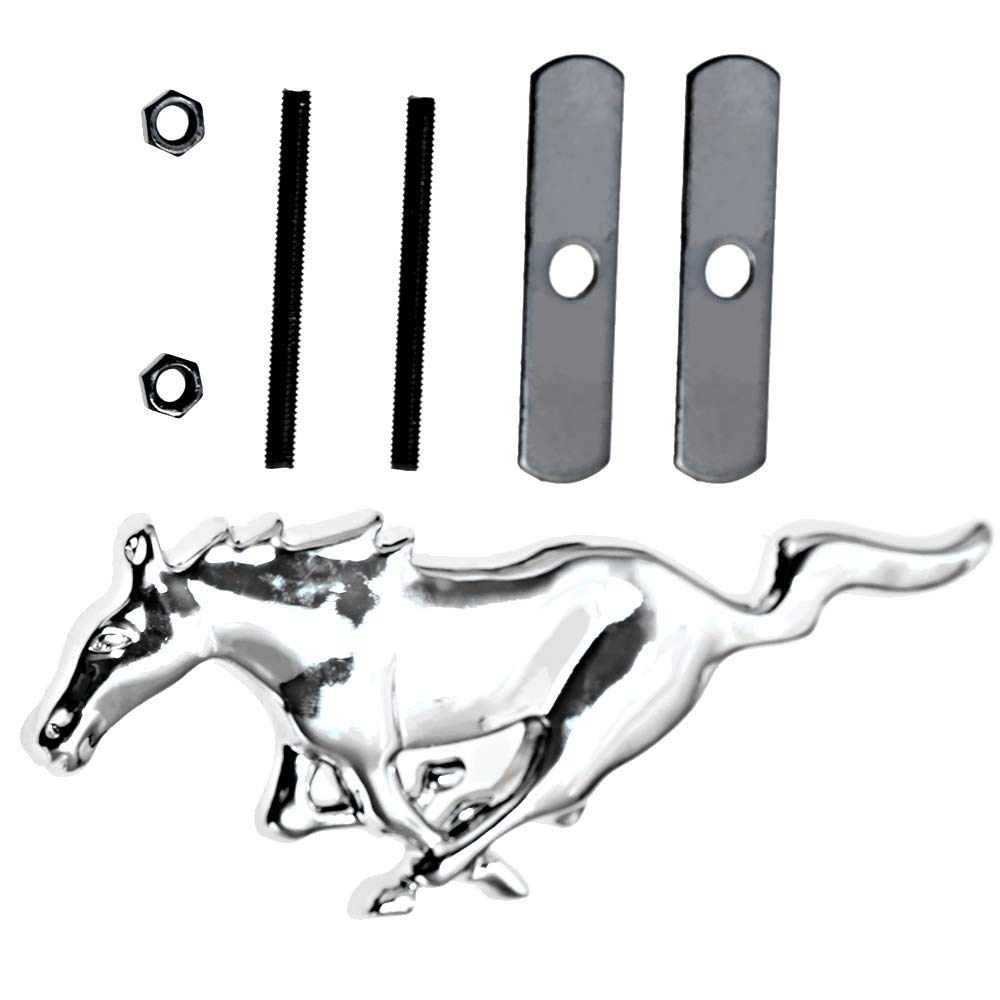 QUIOSS 2 Sets Running Horse Car Grille Emblem Badge for Ford Mustang Tri Bar Chrome Finish Front Grille Fender Side Sticker Pony Screws