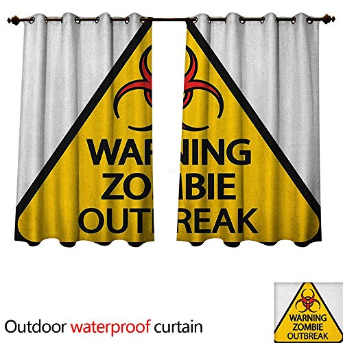 Anshesix Zombie Home Patio Outdoor Curtain Warning The Zombie Outbreak Sign Cemetery Infection Halloween Graphic W72 x L72(183cm x 183cm)