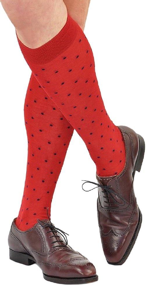 Marcoliani Mens Over-the-Calf Mercerized Cotton Fun Dots Dress Socks