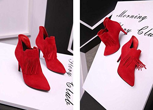 9cm Scarpin dedo del pie puntiagudo botas zapatos de boda zapatos de vestir mujeres de color puro Seude Zipper Tassel Ol corto botas botas desnudas Martin botas Chelsea botas Eu tamaño 32-44 ( Color :