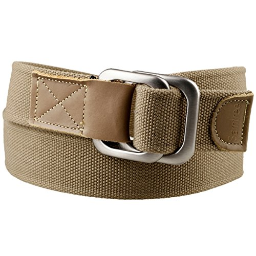 Moonsix Women Men Canvas Web Belts,Adjustable Casual Leather D Ring Belt (Khaki)