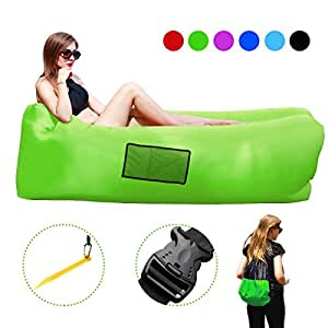 Breezz Inflatable Lounger Couch,Fast Inflatable Air Sofa , Load-Bearing 500 LBS (Green)
