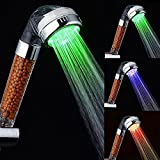 color therapy shower head - Shower Head - Magic Negative Ionic Filter Chlorine LED Shower Head 3 Colors Changes with Changing Water Temp Bathroom LED Light Top Spray Shower Head