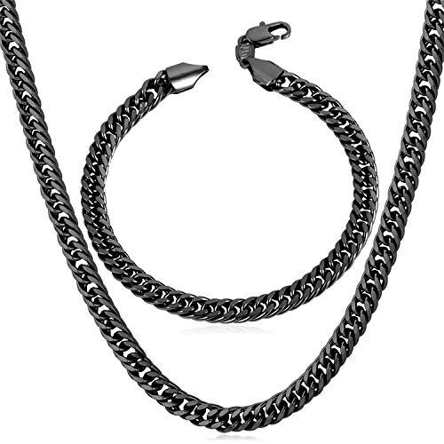 U7 Black Gun Metal Chain Men Hip Hop Jewelry Set of 6mm Wide Franco Curb Link Bracelet & Necklace - Link Metal Necklace Set