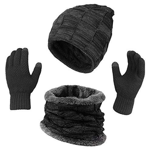 KRATARC Winter Warm Scarf Beanie Hat Glove Neck Gaiter Set Outdoor (Black)