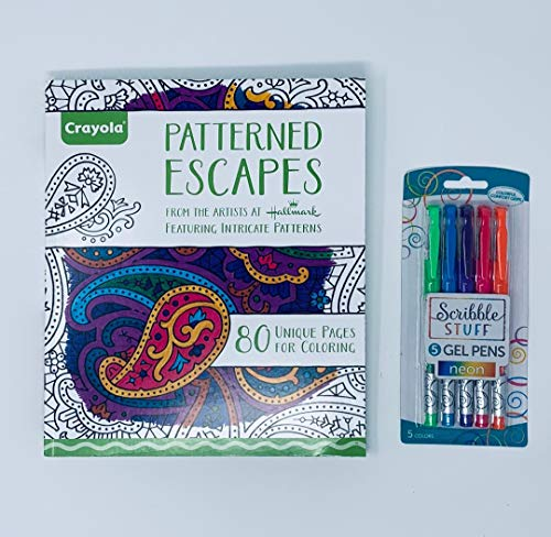 Crayola Patterned Escapes Coloring Book with Scribble Stuff Neon Gel Pens Assorted Colors, Adult Coloring