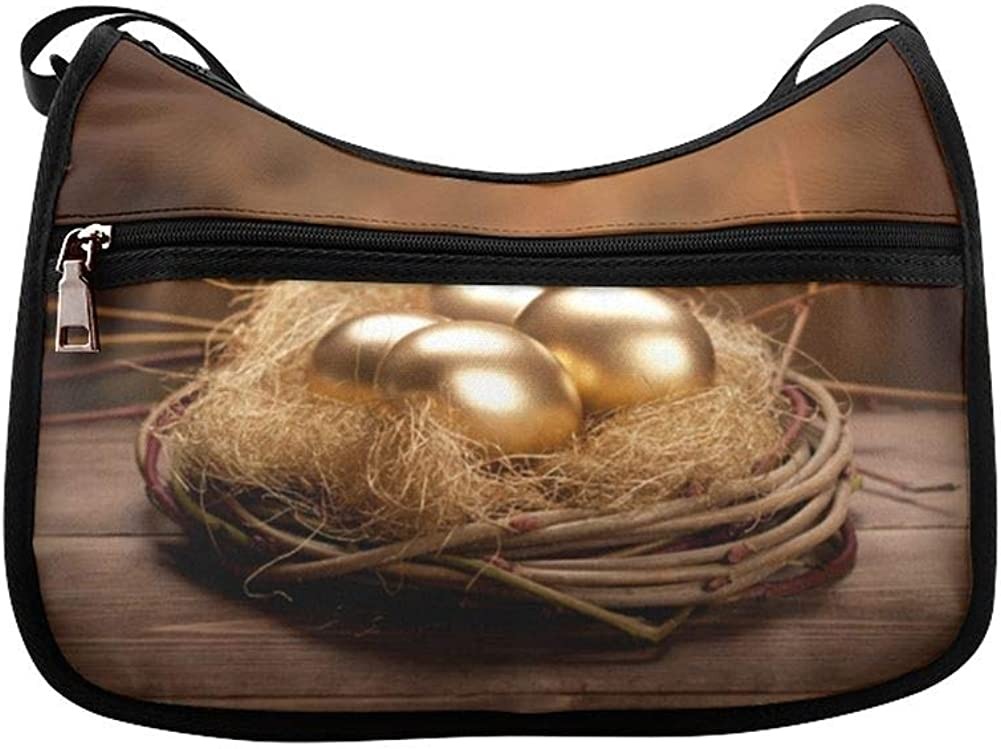 Gold Coins And Eggs Messenger Bag Crossbody Bag Large Durable Shoulder School Or Business Bag Oxford Fabric For Mens Womens
