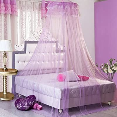 SG Round Lace Curtain Dome Bed Canopy Netting Princess Mosquito Net for Girls Toddlers and Adults Or Over Baby Crib Large Size