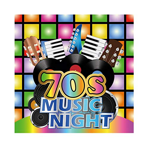 CSFOTO 4x4ft 70s Mucis Night Party Backdrop 70s Themed Party Photography Background Adults Birthday Party 70s Retro Style Party Night Club Disco Party Scene Setter Neon Adults Portrait Studio Props -