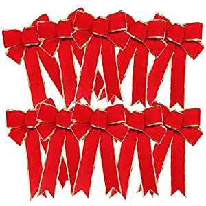 FORUSKY 10 Pcs 25 x 18 cm Christmas Charms Velvet Bow Wreaths Decoration Tree Ornaments 18