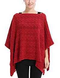 Ferand Casual Batwing Sleeve Floral Crochet Knit Poncho Cape Pullover for Women