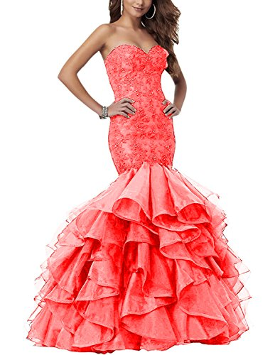 YMSHA Women's Long Fishtail Rhinestone Evening Long Mermaid Lace Applique DressesWedding Party Gowns Coral 22W -