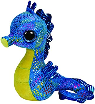 Ty - Peluche Caballito de mar, 15 cm, Color Azul y Amarillo (United Labels 36021TY)