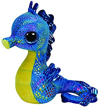 Ty - Peluche caballito de mar, 15 cm, color azul y amarillo (United