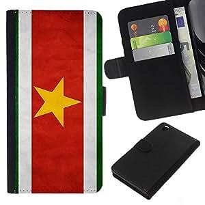 KLONGSHOP // Tirón de la caja Cartera de cuero con ranuras para tarjetas - Nacional bandera de la nación País Suriname - HTC DESIRE 816 //